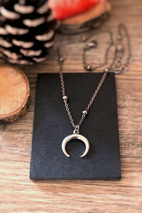Collier en acier inoxydable lune, réglable argenté fait main