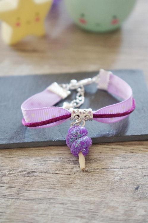 Bracelet enfant violet barbe à papa pailletée en fimo fait main