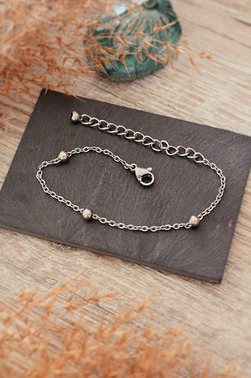 Bracelet acier inoxydable chaine billes réglable