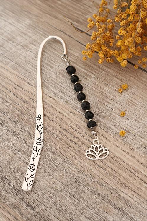 Marque page Lave et Obsidienne pierres naturelles fait main lotus