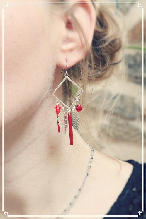 Boucles d'oreilles Talys rouge et argenté pendantes fait main