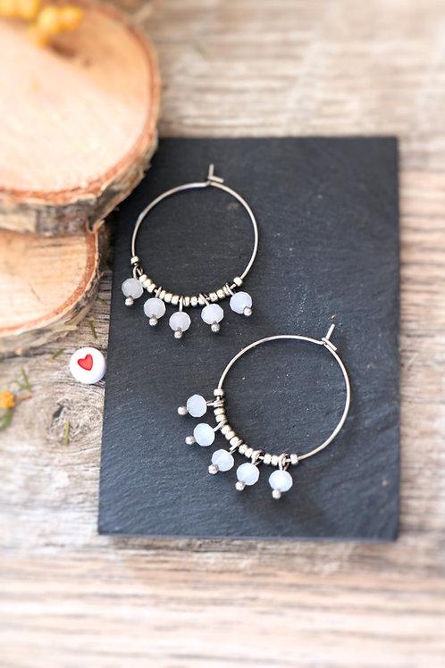 Créoles  boucles Perlita acier inoxydable argenté et perles blanches