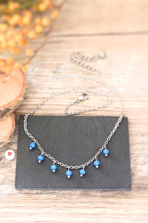 Collier tour de cou Perlita acier inoxydable argenté et perles bleues