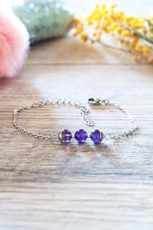 Bracelet Jali Améthyste acier inoxydable artisanal pierres naturelles