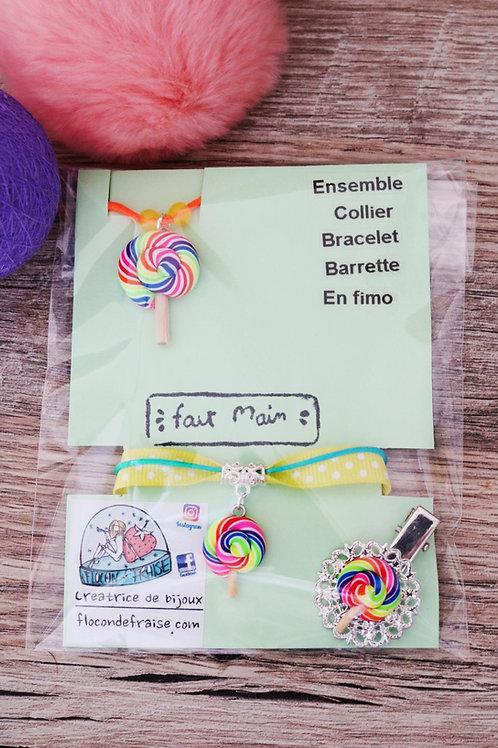 Parrure lolipop sucette multicolore en fimo collier bracelet barrette artisanal
