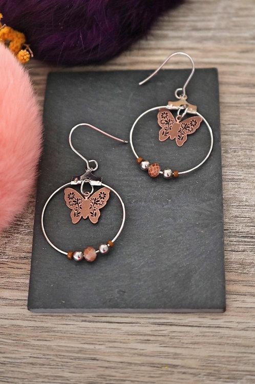 Boucles d'oreilles créoles papillons filigranes marrons attaches acier inox
