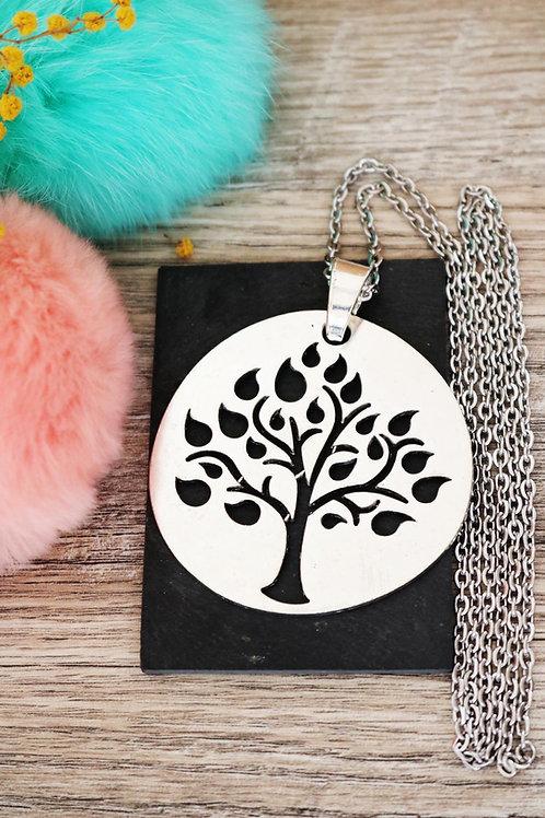 Sautoir collier long gros médaillon arbre de vie argenté et sa chaine acier inox