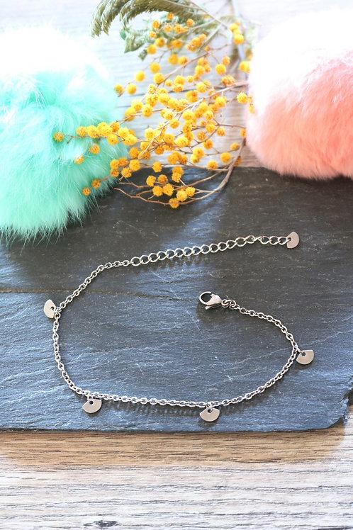 Bracelet/ chaine de cheville en acier inoxydable éventail réglable artisanal
