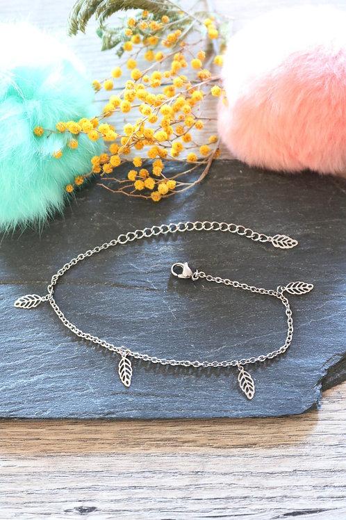 Bracelet/ chaine de cheville en acier inoxydable feuilles réglable artisanal