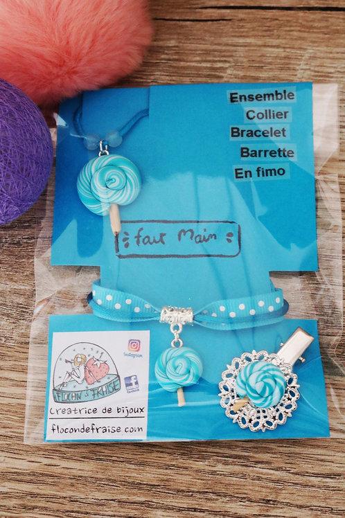 Parrure lolipop sucette bleue en fimo collier bracelet barrette artisanal
