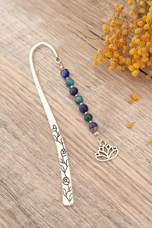 Marque page Lapis lazuli et Apatite pierres naturelles fait main lotus