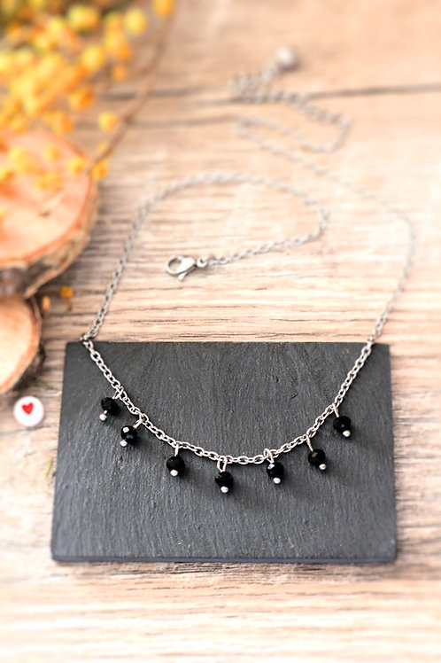 Collier tour de cou Perlita acier inoxydable argenté et perles noires