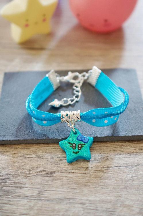 Bracelet enfant bleu étoile pailletée en fimo fait main