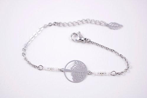 Bracelet acier arbre de vie blanc filigrane réglable inoxydable bohème miyuki