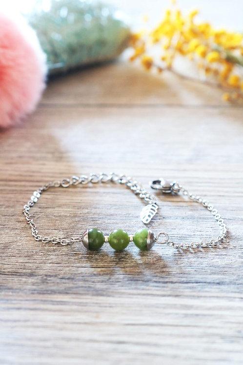 Bracelet Jali Jade acier inoxydable artisanal pierres naturelle