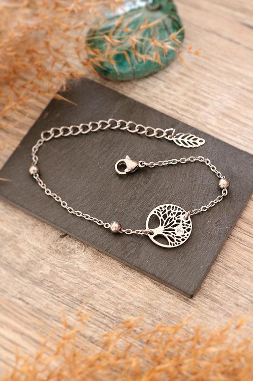 Bracelet arbre médaillon acier inoxydable chaine billes réglable