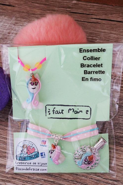 Parrure licorne en fimo collier bracelet barrette artisanal