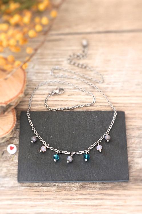 Collier tour de cou Perlita acier inoxydable argenté perles gris, rose et bleues