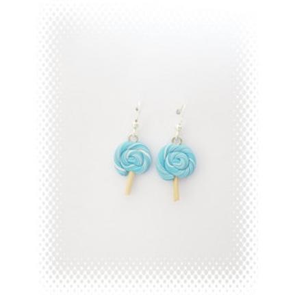 Boucles bonbon lollipop bleu fimo attache en acier inoxydable