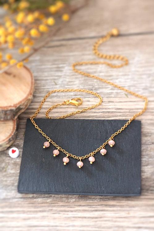 Collier tour de cou Perlita acier inoxydable doré et perles orange pastel