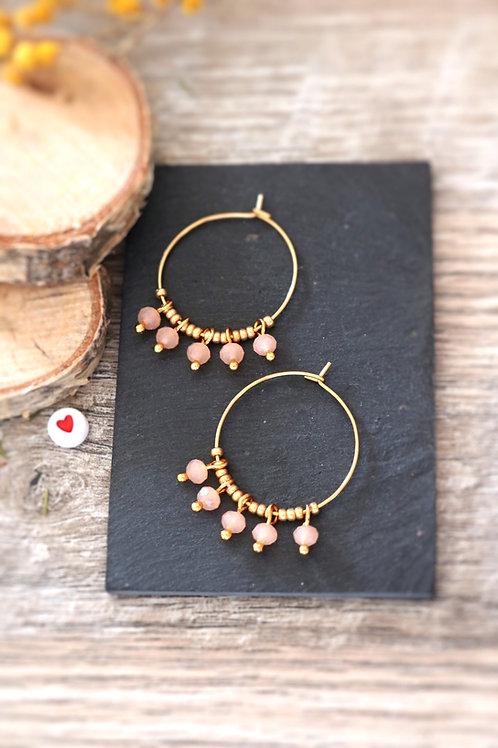 Créoles  boucles Perlita acier inoxydable doré et perles orange pastel