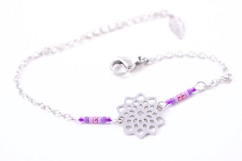 Bracelet acier fleur mandala violet réglable inoxydable bohème miyuki