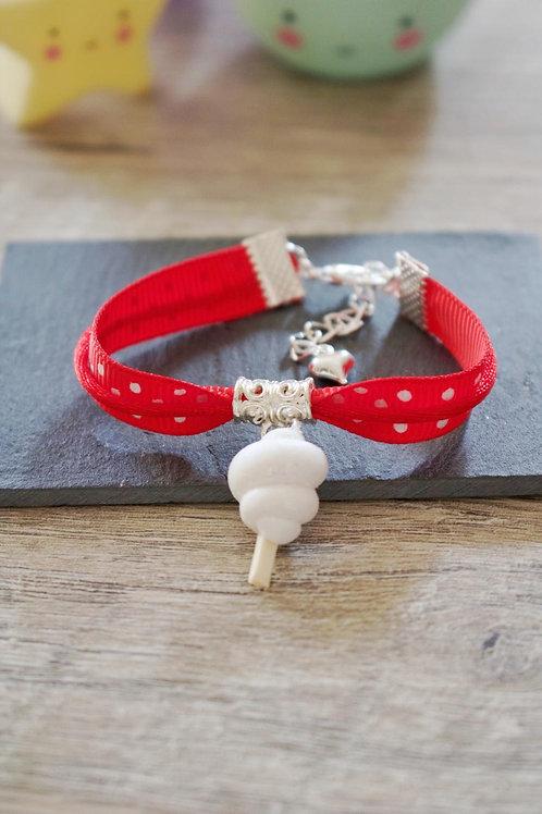 Bracelet enfant rouge barbe à papa pailletée en fimo fait main