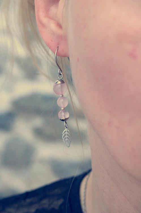 Boucles pendantes Jali Quartz Rose acier inoxydable fait main pierres naturelles
