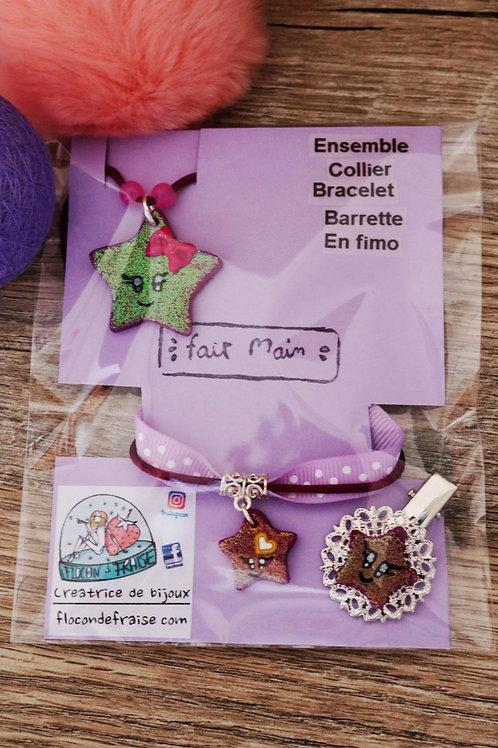Etoile pailletée violette kawaii en fimo collier bracelet barrette artisanal
