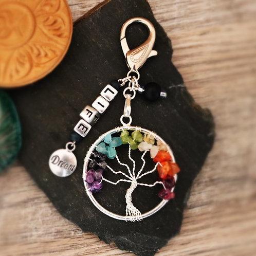 Porte clés arbre chakra pierres naturelles life artisanal