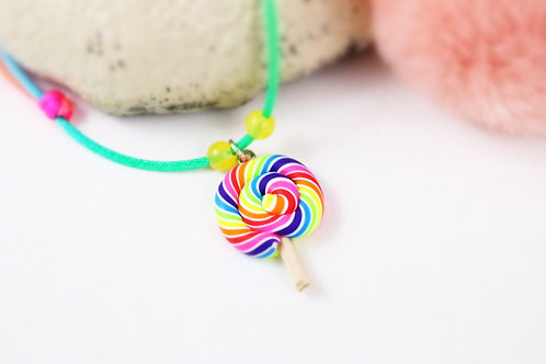 Collier enfant sucette lollipop multicolore fimo artisanal fille gourmande