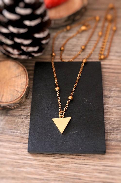 Collier en acier inoxydable doré triangle, réglable fait main