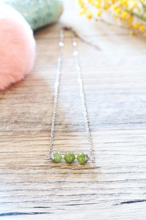 Collier Jali Jade acier inoxydable artisanal pierres naturelle