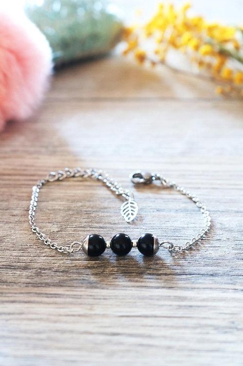 Bracelet Jali Obsidienne acier inoxydable artisanal pierres naturelles