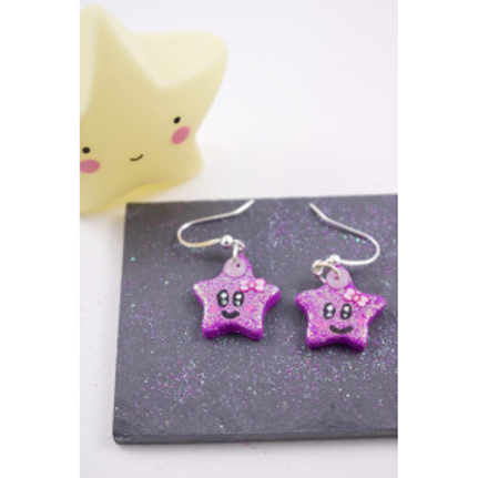 Boucles étoiles pailletées violettes en fimo attache en acier inoxydable