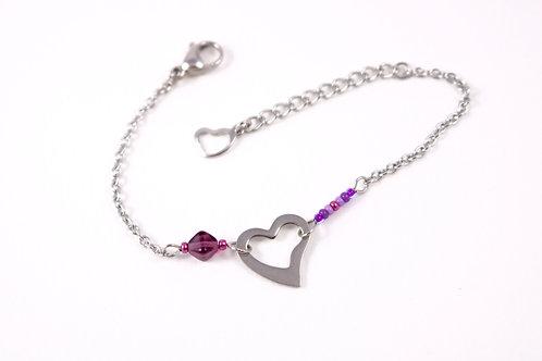 Bracelet acier réglable coeur acier inoxydable violet bohème miyuki