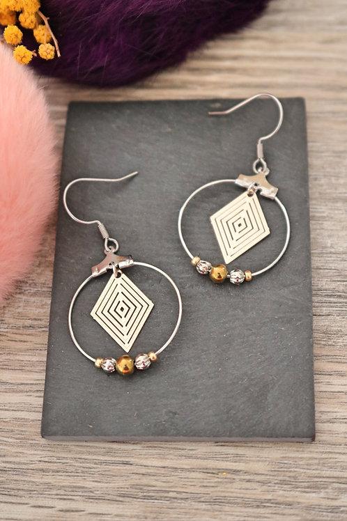 Boucles d'oreilles créoles losanges filigranes bicolores attache acie