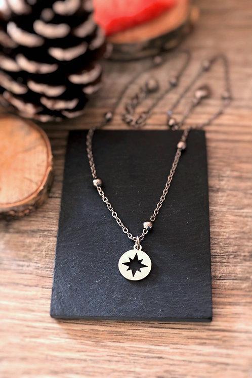 Collier en acier inoxydable médaillon étoile, réglable argenté fait main