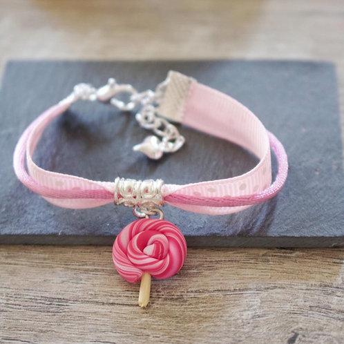 Bracelet enfant rose sucette lolipop en fimo fait main