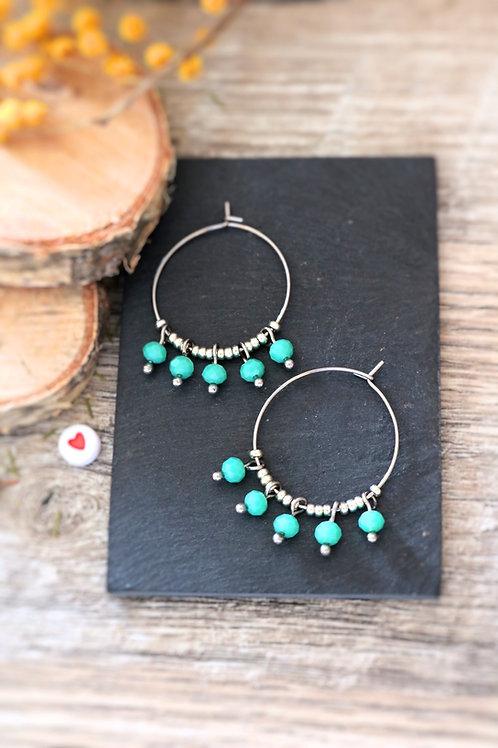 Créoles  boucles Perlita acier inoxydable argenté et perles vert d'eau