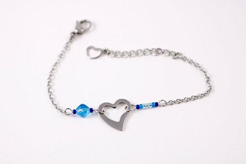 Bracelet acier réglable coeur acier inoxydable bleu bohème miyuki