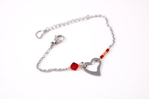 Bracelet acier réglable coeur acier inoxydable rouge bohème miyuki