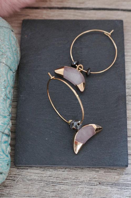 Créoles Quartz rose lune acier inoxydable doré fait main perles hématites
