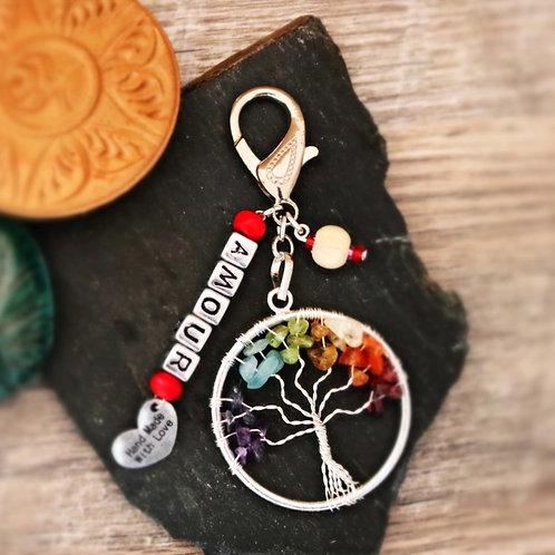 Porte clés arbre chakra pierres naturelles amour artisanal