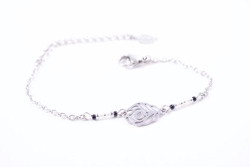 Bracelet acier plume de paon noir réglable inoxydable bohème miyuki