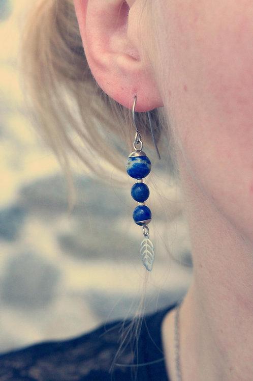 Bouclespendantes Jali Lapis lazuli acier inoxydable fait main pierres naturelles