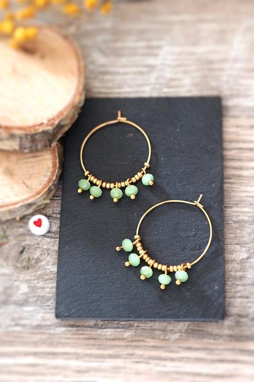 Créoles  boucles Perlita acier inoxydable doré et perles vert pastel