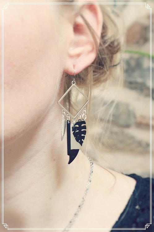 Boucles d'oreilles Talys noir et argenté pendantes fait main
