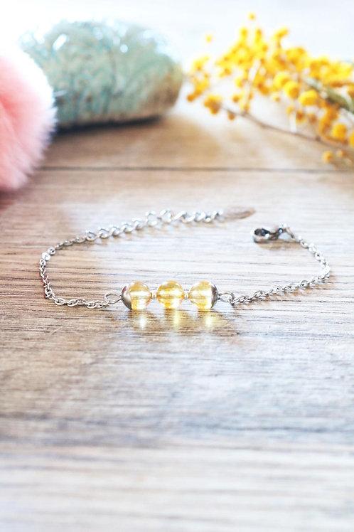 Bracelet Jali Citrine acier inoxydable artisanal pierres naturelles