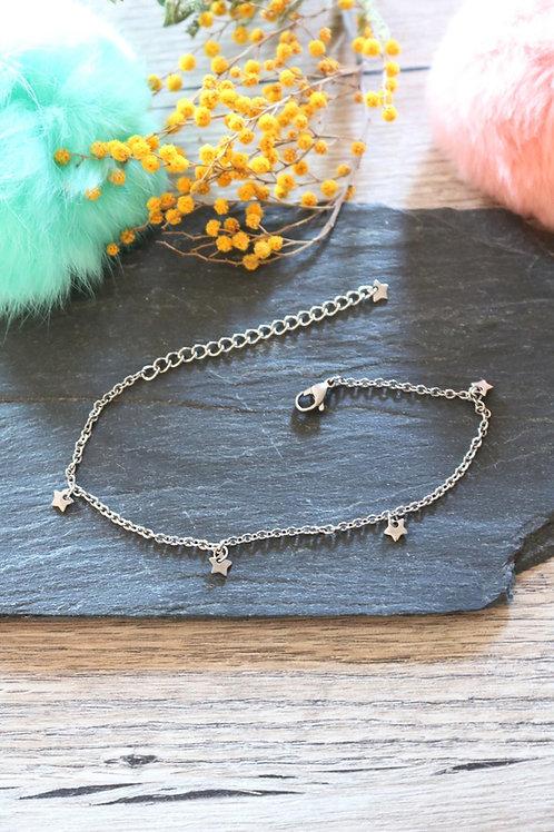 Bracelet/ chaine de cheville en acier inoxydable étoiles réglable artisanal